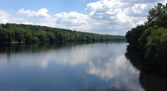 Looking downriver from the bridge at Washington's Crossing